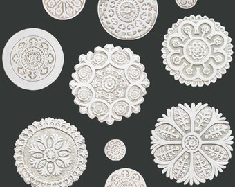 Suzani circle wall sculpture made from ceramic,Set of 10 blue and white circles,ceramic tile,beige and white wall art