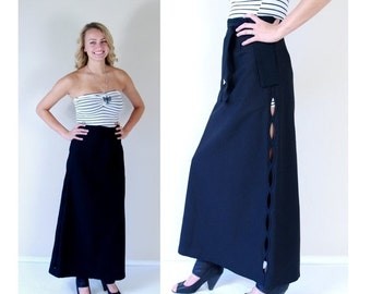 Half Off vtg 60s black CUT OUT SIDES high waist Maxi Skirt xs/s avant garde retro belted unique high waisted