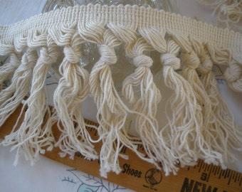 "Boho Macrame Fringe trim 3.75"" wide cotton blend knotted fringe twisted knots pattern retro BTY yards crafts costume"
