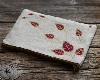 Linen and Cotton Zipper Pouch with Hand Painted Red Wine Leaves with Gold Metallic Effect, Nature Inspired Accessories, Cosmetic Bag