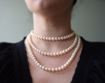 Triple Strand Genuine Pearl Necklace, 18th Century Pearl Necklace, Georgian Pearls, Reproduction Jewelry, Rococo Necklace, Marie Antoinette