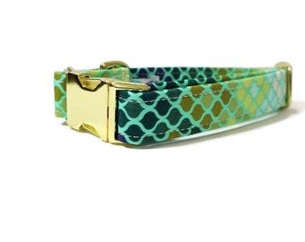 Dog Collar | Mermaid Scales in Green Dog Collar | Your choice of metal buckle or plastic buckle | Boy Dog Collar | Girl Dog Collar