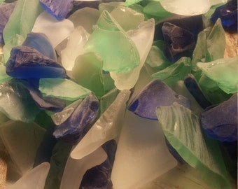 Beach Glass  Sea Glass 1 lb  pound , 16 ounces approx  Blue ,Green ,Clear White Tumbled Glass