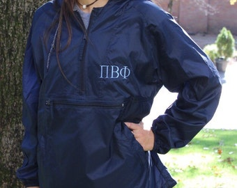 Sorority Rain Jacket - Pi Beta Phi - Chi Omega - Kappa - Tri Delt - Zeta - more sororities available - Greek Rain Jacket - Rain Coat