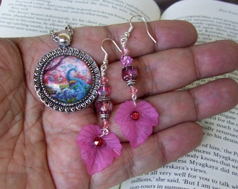 Dangle Earrings and Pendant Set (S606) Peacock Graphic Under Glass Dome, Resin Leaf, Crystal Dangles, Swarovski Crystals, Pink