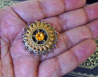 Steampunk Tie Tack (TT607) - Copper and Silver plated Filigrees and Brass Gears - Swarovski Crystal
