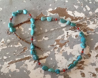 Turquoise Necklace, Boho Necklace, Western Jewelry Cowgirl Native American