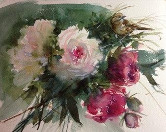6 floral watercolor prints cards