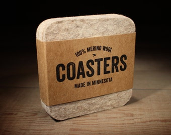 100% Merino Wool Square Felt Coasters - 5mm Thick German-milled Felt - Rich, Lightfast Colors - Natural and Renewable - Oatmeal