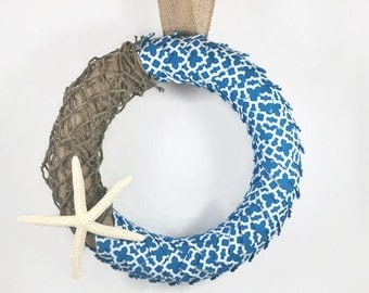 Sea Star & Beach Themed Ribbon Door Wreath, Burlap Door Wreath, Small Wreath, Beach Decor, Summer Decor, Summer Door Wreath