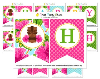 Luau Happy Birthday Banner Printable - Instant Download - Watercolor Luau Collection