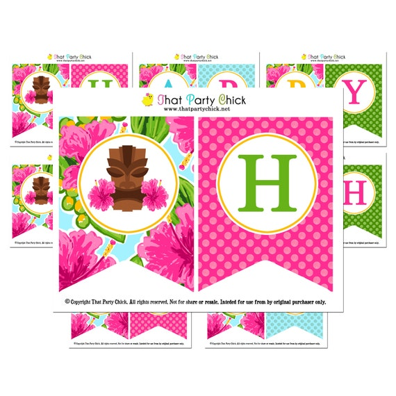 Luau Happy Birthday Banner Printable