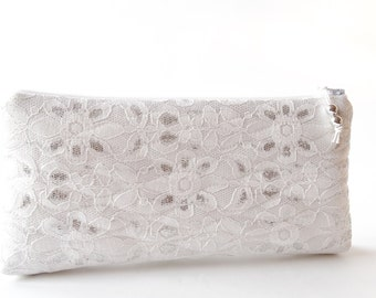Wedding Clutch, Ivory Silver Lace Clutch for Bride or Bridesmaid, Party Wallet, Cosmetic Purse