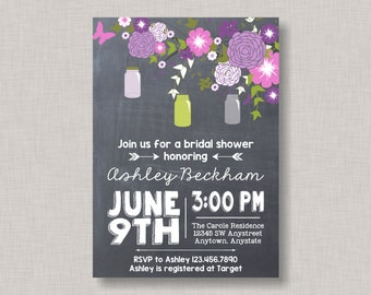Mason Jar Invitation, Mason Jar Bridal Shower Invitation, Mason Jar Baby Shower Invitation, Mason Jar Birthday Invitation, Chalkboard