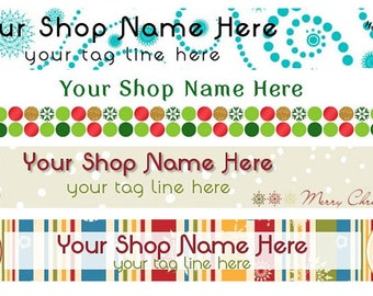 Large Etsy Facebook Cover Photo Ready Made Premade Christmas Holiday Winter Red Green Snowman Banner  - You Pick One