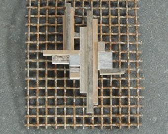 Off the Grid, Recycled Metal Wall Sculpture, Metal Barn Wood Wall Hanging, Industrial Wall Art, Reclaimed Wood Wall Art, Rustic Modern