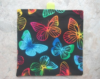 Colorful Butterflies - Reusable Sandwich Bag, Reusable Snack Bag with easy open tabs