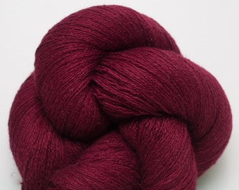 Carmine Silk Cashmere Lace Weight Recycled Yarn, 2165 Yards Available