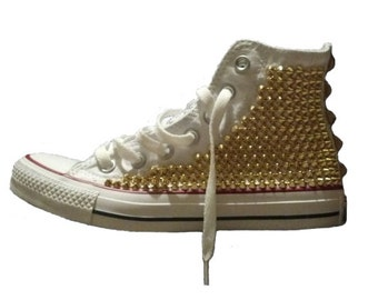 Studded Spike Converse High Top White with Gold
