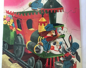 Children's Puzzles Set of 4: Train, Rabbit, Tiger, and a Donkey with a Bear