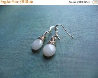 Clearance Rainbow White Jade Teardrop Earrings in Silver - Handmade Artisan Earrings - Wire Wrapped Teardrop Earrings