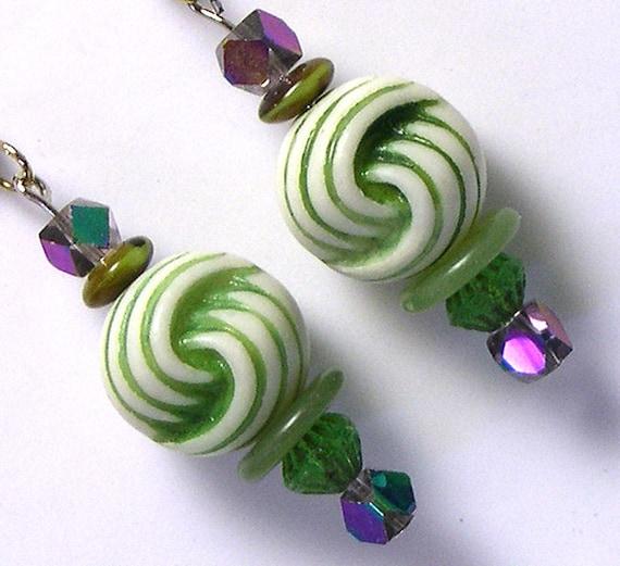 Upcycled Recycled Unique OOAK Handmade Vintage Beaded Green Earrings, green bead earrings, made with vintage beads, upcycled green earrings