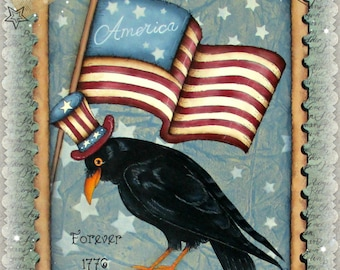 America Forever! Postage Stamp look with Flag, Stars & Crow! Americana - Designed and Painted by Sharon Bond - FAAP