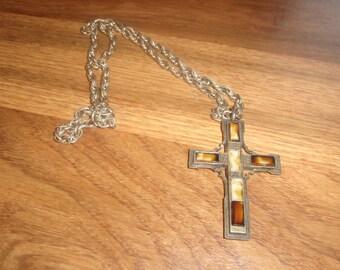 vintage necklace goldtone cross religion agate marble