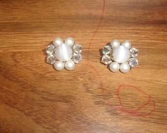 vintage clip on earrings faux pearls glass bead clusters