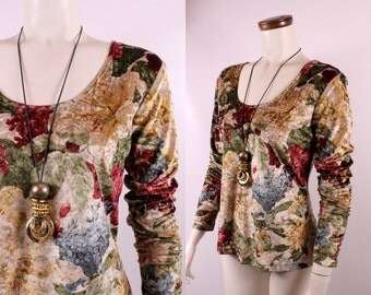 Vintage 90s - Crushed Velvet - Bold Romantic Floral - Long Sleeve Scoop Neck Top - Grunge Goth