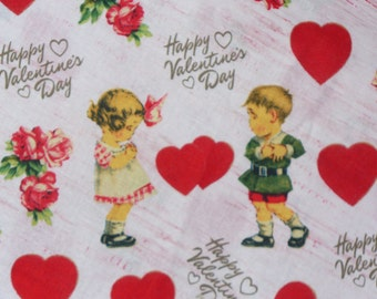 Valentine Fabric,  Vintage Style, Sweethearts Fabric, Retro Valentine, By the Yard