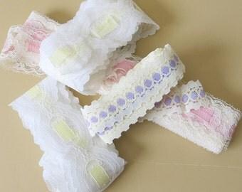 3 Nylon Novelty Lace Sampler Pink Yellow Lavender Ribbon Laces 9 Yards Total 144b