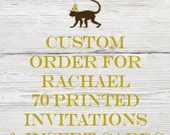 Reserved listing for Rachael for 70 Printed Antique Balloon Baby Shower Invitations with White Envelopes and 70 Printed Insert cards