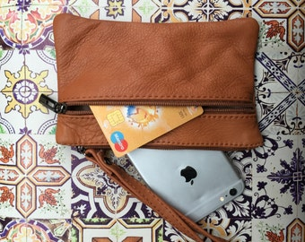 Small genuine leather wristlet BAG, iPhone case, Iphone plus, Cosmetic bag, Make up bag,Purse in CAMEL BROWN soft leather. Small party bag.