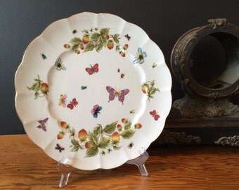 "Vintage Royal Crown "" SPRINGTIME "" Butterflies Cake Plate / Serving Plate / Strawberries, Butterflies and Lady Bugs / Romantic Country"
