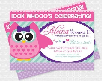 Owl Party Invitation, Printable file, Personalized