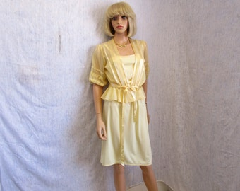 70s S Polyester Knit DRESS Spaghetti Straps w/ Sheer Jacket Light Yellow