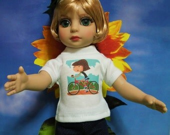 """Fits 10"""" Patsy-Tonner Doll . White Short SleeveT-Shirt -Girl on Bicycle ... D306"""
