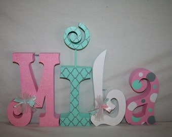 Custom nursery decor, Hanging nursery letters, 4 letter set, Mint room decor, Wood letters for nursery, Baby name letters, Wooden letters