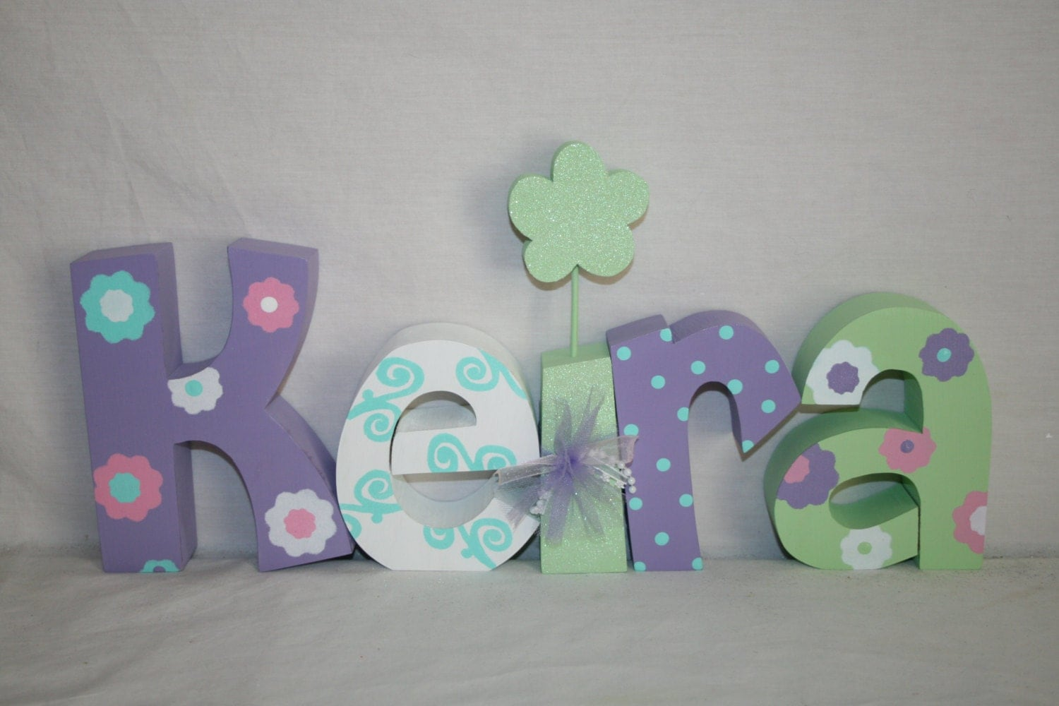 custom wood letters nursery decor 5 letter set purple and mint green decor freestanding wood letters kids room decor wood name sign