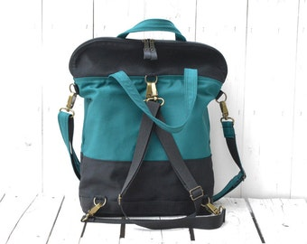 Canvas backpack, Unisex rucksack, Laptop carrier, Convertible bag, Cycling pack, Emerald Green May Birthday, unique gift for students