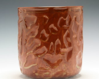 Large Handmade Burnt Umber Ceramic Utensil Holder with Hand Carved Texture/Ceramics and Pottery