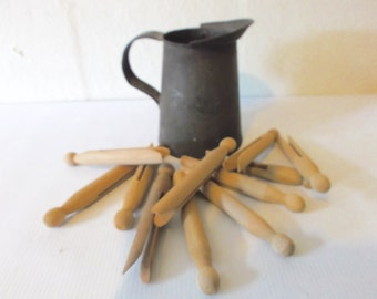 Primitive Wood Clothes Pins Wooden Laundry Pegs with Metal Primitive Jug