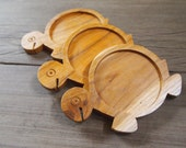 Set of 3 Pieces Turtle Design Wood Coaster Animal Shape Home Decoration