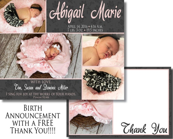 Baby Girl Birth Announcement - Digital File - with free thank you - 4 photos