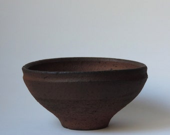 Wood Fired Bowl, Reduction Cooled Local California Clay, #672