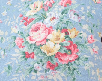 Vintage Sky Blue Nubby Floral Cabbage Roses Vintage Barkcloth Fabric Drape Panel Curtain