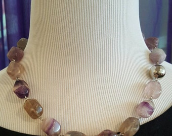Fluorite and Metal Beaded Statement Necklace with Matching Earrings Included
