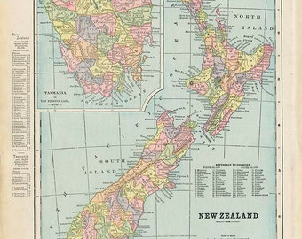 NEW ZEALAND and AUSTRALIA Maps from 'The Home Knowledge Atlas' Original Double-Sided Book Page