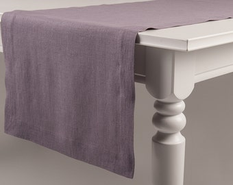 Light purple linen table runner Made with classic hem More colors available